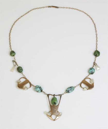 Lot 349-A gold Liberty Cymric freshwater pearl and turquoise necklace