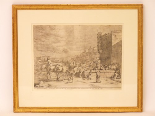 Lot 515-I Offenbeeck (?) 'DELLA GALLERIA DEL MOLTO ...' - FIGURES AND CATTLE BY A FOUNTAIN Etching 30 x 41cm