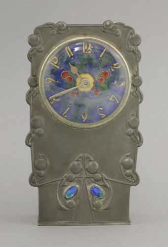 82 - A Tudric pewter and enamel clock