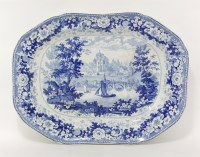 Lot 4 - A Minton 'English Scenery Series' blue and white pottery Meat Dish