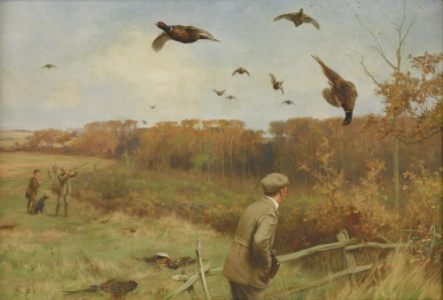 Lot 376-Thomas Blinks (1860-1912) PHEASANT SHOOTING; PARTRIDGE SHOOTING A pair