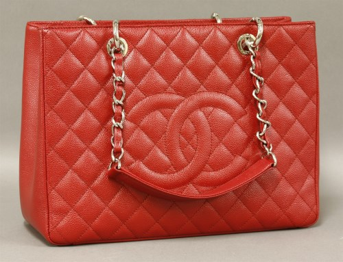 422 - A Chanel red caviar leather quilted Grand Shopper Tote bag (GST)
