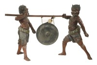 56 - An impressive pair of life-size wood and gesso oni
