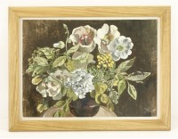Lot 17 - *John Aldridge RA (1905-1983) STILL LIFE OF A VASE OF FLOWERS Stamped with initials l.r.