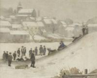 Lot 97 - *John Rankine Barclay (1884-1962) SNOW SCENE WITH CHILDREN SLEDGING Signed l.r.