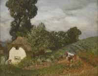 155 - Sir George Clausen RA (1852-1944) 'THE COTTAGE GARDEN' Signed l.r.