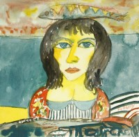 Lot 19 - *John Bellany RA (1942-2013) WOMAN WITH FISH Signed l.r.