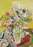 Lot 21 - *John Bellany RA (1942-2013) STILL LIFE OF A VASE OF FLOWERS Signed l.l.