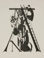 Lot 69 - Eric Gill (1882-1940) 'THE DEPOSITION' FOR 'THE FOUR GOSPELS' Wood engraving