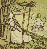 Lot 73 - Lucien Pissarro (1863-1944) A GIRL SEATED BENEATH A TREE WITH TWO DOE GRAZING Wood engraving in colour