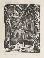 Lot 87 - *Paul Nash (1889-1946) BLACK POPLAR POND Woodcut