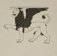 Lot 71 - Eric Gill (1882-1940) 'THE LION OF ST MARK' FOR 'THE FOUR GOSPELS'; 'HAMLET' TITLE PAGE Two