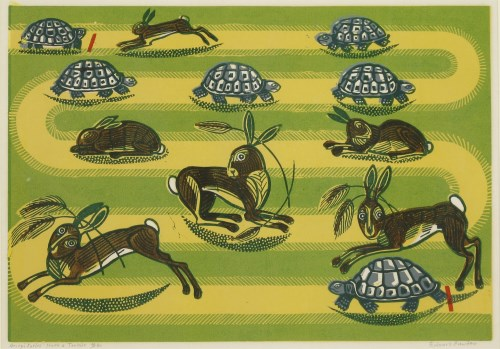 Lot 2-*Edward Bawden RA (1903-1989) THE HARE AND THE TORTOISE