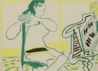Lot 98 - *Ceri Richards (1903-1971) GIRL AT PIANO c.1949 Crayon 21 x 28cm  Provenance:Cerastico Collection