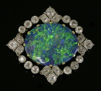 416 - A Belle Époque black opal and diamond brooch