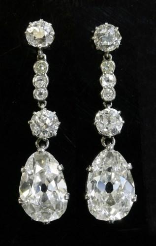 Lot 342 - A pair of diamond drop earrings