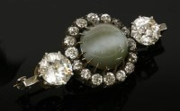 345 - A late Victorian chrysoberyl cat's-eye and diamond cluster