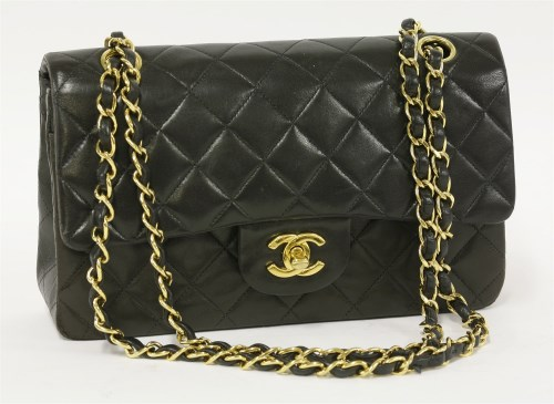 410 - A Chanel 2.55 black classic lambskin leather double flap bag