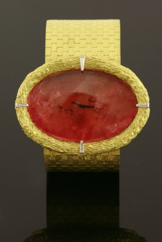 Lot 480 - An 18ct gold cased 'Pinkerton' bracelet watch by Omega