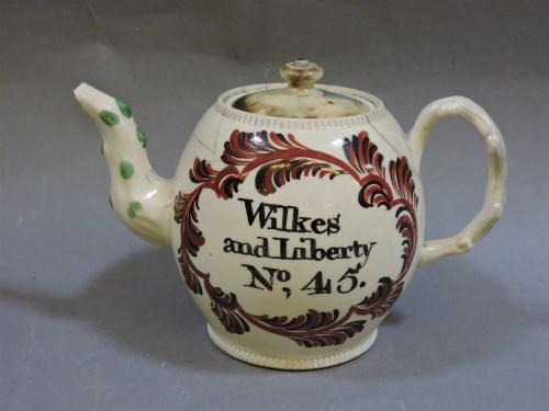 161 - A cream ware teapot