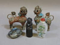 Lot 67 - A pair of Chinese metal and enamel Buddhistic lions