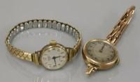 Lot 23 - A 9ct gold ladies mechanical bracelet watch
