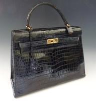 386 - An Hermès Paris black crocodile skin 'Kelly' bag