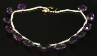 Lot 42 - A Victorian amethyst and seed pearl necklace