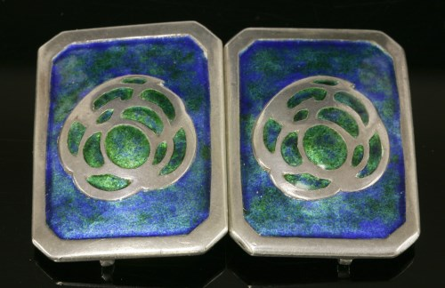 3 - An Arts and Crafts sterling silver enamel buckle
