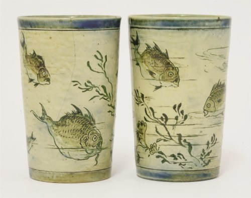 Lot 46-Two Martin Brothers' stoneware beakers