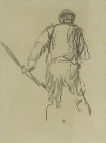 Lot 1456 - Harry Becker (1865-1928) STUDY OF A LABOURER Inscribed verso