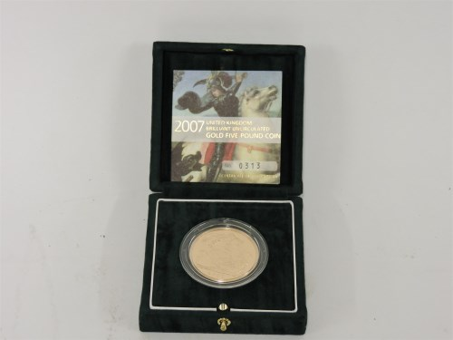 Lot 78 - A 2007 UK uncirculated gold £5 coin