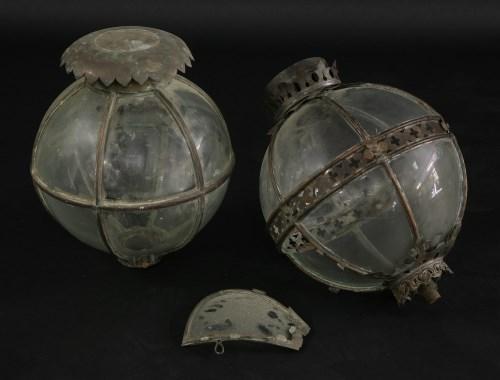 446 - Two similar glass lanterns