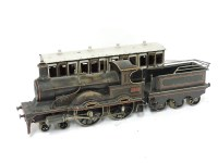 100 - A 4.4.0 gauge tinplate spirit-fired live steam locomotive tender and carriage