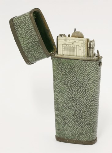 169 - A large shagreen drawing set etui