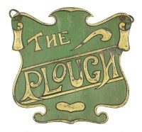 Lot 13 - An Arts & Crafts embossed and patinated 'The Plough' pub sign