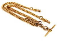 Lot 44 - A 9ct gold watch chain with t-bar