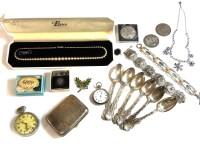 Lot 77 - A set of six monogrammed silver teaspoons