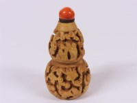 Lot 64-A Chinese boxwood double gourd snuff bottle
