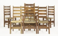 Lot 40 - A set of eight Heal's oak Letchworth dining chairs