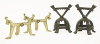 Lot 33 - A pair of brass fire dogs