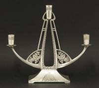 Lot 6 - An Art Nouveau silver metal candelabra