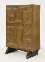 Lot 57 - A walnut secretaire chest