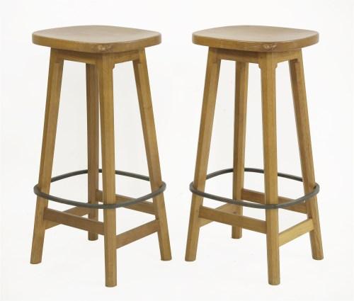 128 - A pair of Robert 'Mouseman' Thompson bar stools