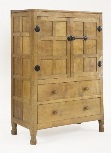 135 - A Robert 'Mouseman' Thompson oak cabinet or tallboy