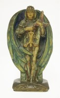 Lot 23 - A Compton Potters Art Guild painted pottery figure of St Michael