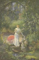 Lot 92 - *Cyril Frost (1880-1971) WOMAN READING A LETTER BY A POND Signed and dated 1913 l.r.
