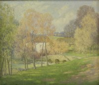 Lot 94 - *Cyril Frost (1880-1971) A STONE BRIDGE BY A FARM Signed and dated 1958 l.l.