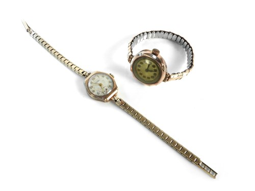 Lot 9-A 9ct gold ladies Rotary mechanical watch head with bracelet