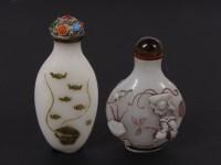 Lot 62-Two Chinese overlay Peking glass snuff bottles